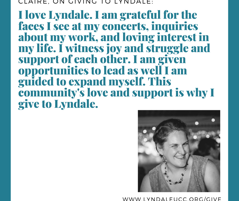 Claire, on giving to Lyndale